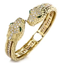 Estate Diamond Emerald Snake Head 18K Gold Cuff & Tennis Bracelet