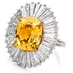Vintage Diamond GIA Certified  6.46ct Natural Yellow Sapphire Ballerina Ring