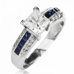 Tacori Diamond Sapphire Platinum Engagement Semi-mount Ring