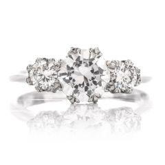 Tacori Diamond 18K 3 Stone Engagement Semi-mount Ring