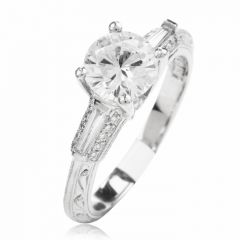 Tacori Diamond Platinum 3 Stone Engagement Semi-mount Ring