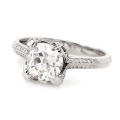 Tacori Antique Cushion 1.80cts Diamond Platinum Engagement Ring