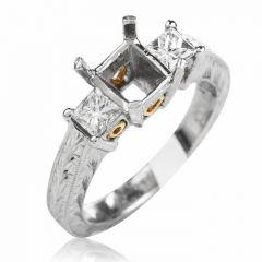 Tacori Diamond 3 Stone Platinum Eternity Engagement Semi-mount Ring