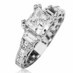 Tacori Diamond 3 Stone Platinum Eternity Engagement Semi-mount Ring