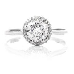 Tacori Diamond Halo Semi-mount Platinum Engagement Buttercup Ring