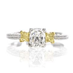 Tacori Three Stone GIA Yellow Diamond Heart Platinum 18K Engagement Ring