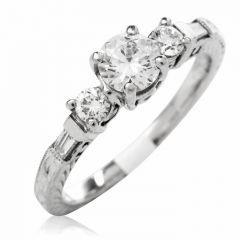 Tacori Diamond Platinum 3 Stone Engagement Semi-mount Ring