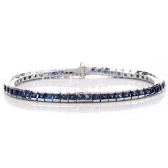 Estate Blue Sapphire Platinum Line Tennis Bracelet