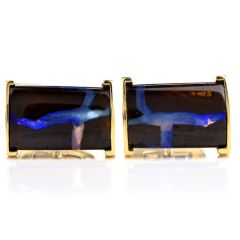 Estate Boulder Opal 18K Yellow Gold Men's Cufflinks