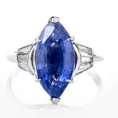 Estate Certified Diamond Sapphire Platinum Marquise Ring