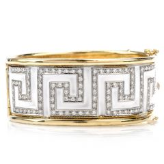 Estate Diamond White Enamel Greek Key 18K Bangle Bracelet