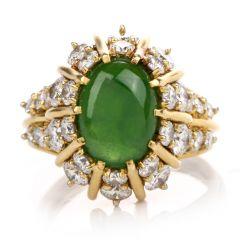 Estate Jade Diamond 18K Yellow Gold Starburst Ring