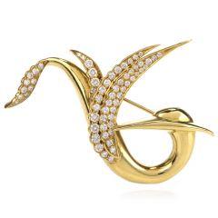 Estate Gemlok Diamond 18K Yellow Gold Abstract Bird Brooch Pin