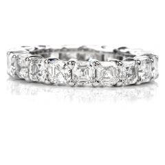 Estate Square Diamond Platinum Eternity Ring