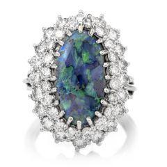 Vintage Opal Double Halo Diamond White Gold Ring