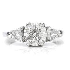 Traditional 3 Stone Diamond Platinum Engagement Ring