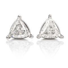 Estate Trilliant Diamond White Gold Stud Earrings