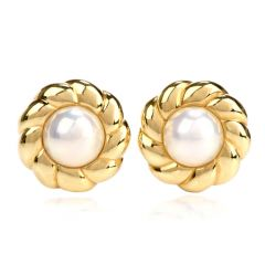 Mikimoto Pearl 18K Yellow Gold Flower Earrings