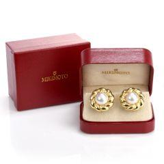 Mikimoto Pearl 18K Yellow Gold Flower Earrings