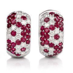 Estate Wide Diamond Ruby 18k Hoop Huggies Earrings