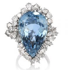 Estate Certified Diamond Aquamarine 18K Ring