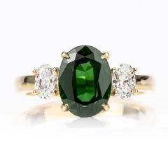 18K Diamond GIA Certified 3.12 Carat Tsavorite 3 Stone Engagement Ring