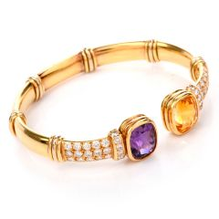 Estate Diamond Citrine Amethyst 18K Cuff Bracelet