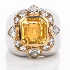 Estate Diamond Untreated Natural GIA Certified Yellow Sapphire 14K Dome Ring