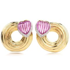 Estate Pink Tourmaline Diamond 18K Yellow Gold Heart Swirl Clip On Earrings