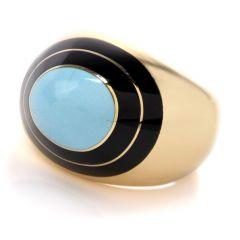 Estate Turquoise Onyx 18K Yellow Gold Ring