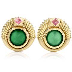 Estate Trojan Jade Pink Tourmaline 18K Yellow Gold Circular Earrings