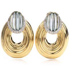 Estate Blue Topaz Diamond 18K Yellow Gold Oval Hoop Clip On Earrings