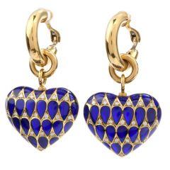 Estate Diamond Blue Enamel 18K Yellow Gold Italian Heart Dangle Hoop Earrings