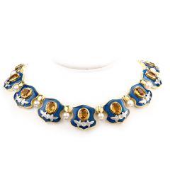 Mitchell Peck Citrine Diamond Pearl 18K Gold Platinum Collar Necklace