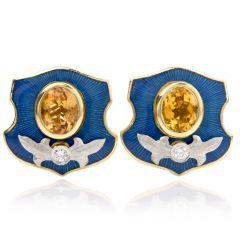 Mitchell Peck Citrine Diamond 18K Gold Platinum Starburst Clipon Earrings