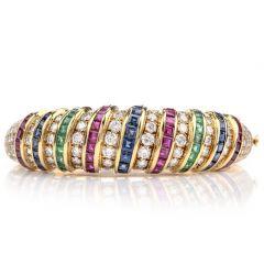 Estate 18K Diamond Sapphire Emerald Ruby  Gold Bangle Bracelet
