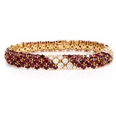 Van Cleef & Arpels Ruby Diamond 18K Yellow Gold Line Bracelet