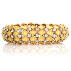 Vintage Diamond Domed 18k French Snake Bracelet