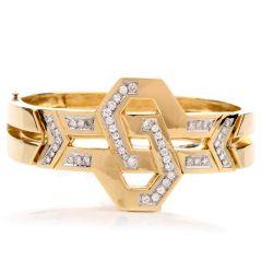 Estate Diamond Art Deco Design 18K Bangle Bracelet