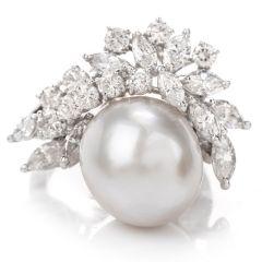 Antique Diamond Pearl Platinum Ring