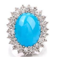 Vintage Diamond Turquoise Platinum Double Halo Ring