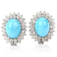 Vintage Diamond Turquoise Omega Clip Earrings