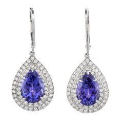 Tiffany and Co. Diamond Tanzanite Platinum Dangle Double Halo Earrings