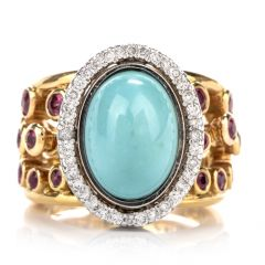 Vintage Diamond Turquoise and Ruby 18K Cocktail RIng