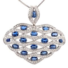 Estate Diamond Sapphire 18K Dome Heart Pendant