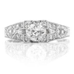 Estate European Cut Diamond Platinum Filigree Engagement Ring