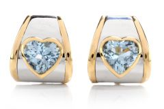 Marina B. Blue Topaz Heart 18K Earrings