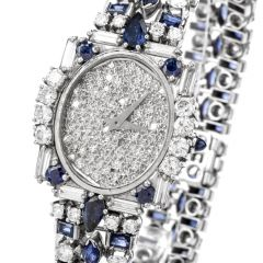 Estate Diamond Sapphire Pave Dial Platinum Watch