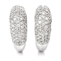 Estate Pave Diamond 18K Dome Hoop Omega Clip On Earrings