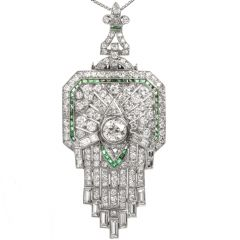 Antique Art Deco Diamond Emerald Platinum Fleur De Lis Brooch Pendant